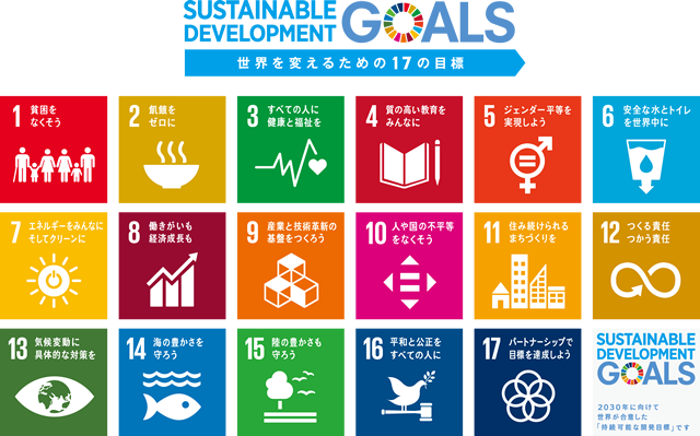 SUSTAINABLE DEVELOPMENT GOALS 17 GOALS TO TRANSOFRM OUR WORLD 世界を変えるための17の目標
